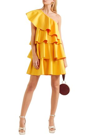 Solace London Dresses SOLACE LONDON WOMAN ONE-SHOULDER RUFFLED CREPE MINI DRESS MARIGOLD