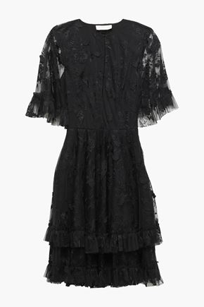 0f1b4bec9e SACHIN & BABI Cape-effect tiered embroidered tulle dress