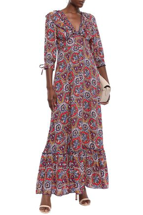 ANTIK BATIK Sam ruffle-trimmed printed voile maxi dress