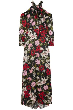 ERDEM Anora cold-shoulder floral-print silk-satin gown