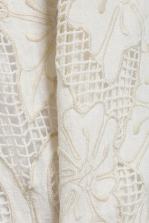 ANTIK BATIK Melly paneled guipure lace and cotton-gauze maxi dress