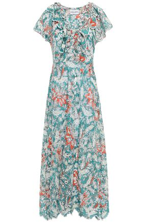 ANTIK BATIK Shiffly ruffled floral-print broderie anglaise cotton midi dress