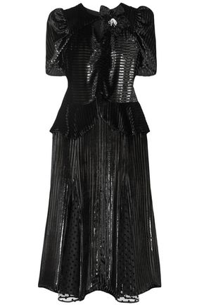ERDEM Diantha flocked tulle-paneled metallic striped velvet midi dress