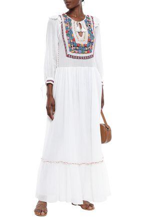 ANTIK BATIK Tasseled crochet-paneled cotton-gauze maxi dress