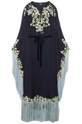 MARCHESA NOTTE Fringed embroidered crepe gown