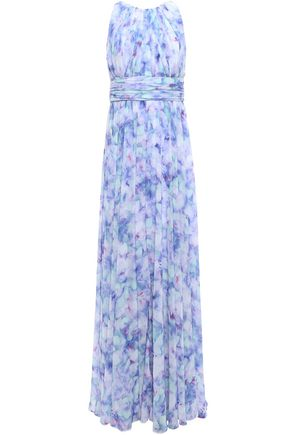 BADGLEY MISCHKA Pleated printed georgette gown
