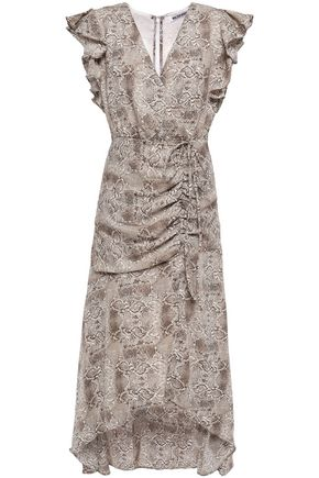 W118 by WALTER BAKER Lace-up ruffled snake-print crepe midi dress