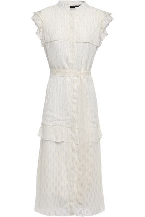 W118 by WALTER BAKER Ruffled tiered fil coupé midi dress