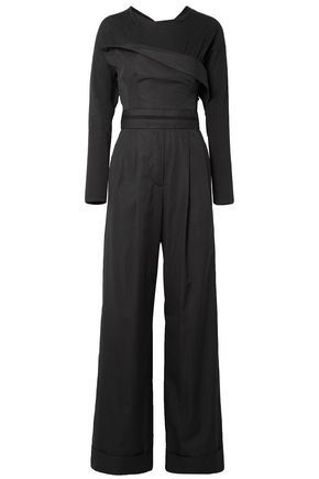 ALEXANDER WANG Layered cotton-poplin and jersey jumpsuit