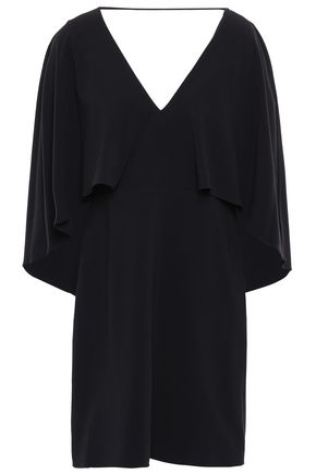 HALSTON HERITAGE Cape-effect crepe mini dress