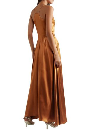 DEITAS Bo metallic silk-satin maxi dress