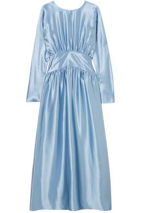 DEITAS Hermine gathered silk-satin maxi dress