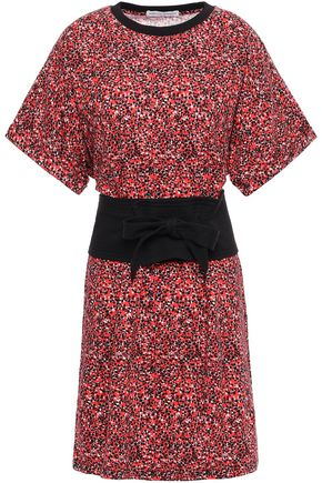REBECCA MINKOFF Paneled floral-print cotton-jersey mini dress