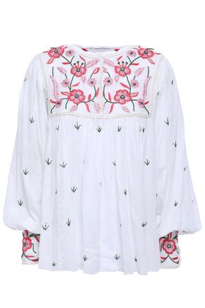 ANTIK BATIK Lilou embellished cotton-voile blouse