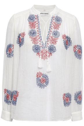 ANTIK BATIK Ryma embroidered cotton-gauze blouse