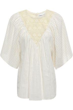 ANTIK BATIK Gelly lace-paneled gathered cotton blouse