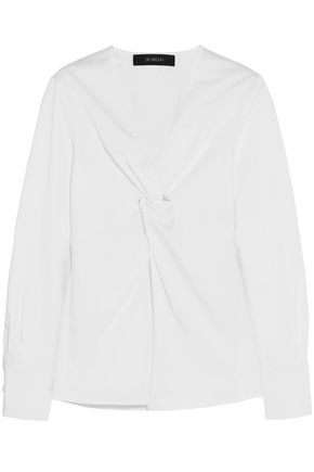 SID NEIGUM Twist-front stretch-cotton poplin top