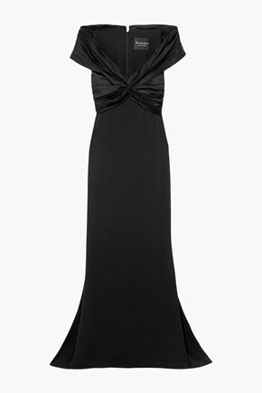 REEM ACRA Off-the-shoulder knotted silk-crepe and satin gown