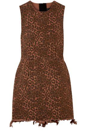 ALEXANDER WANG Frayed leopard-print cotton-twill mini dress