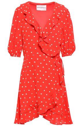 PERSEVERANCE Ruffled embroidered crepe mini wrap dress