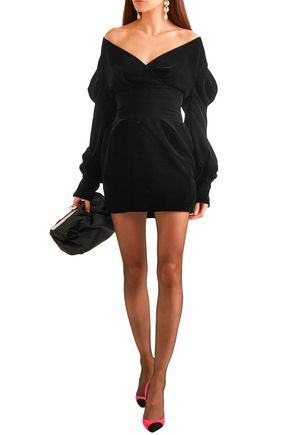 Alexandre Vauthier Dresses ALEXANDRE VAUTHIER WOMAN OFF-THE-SHOULDER COTTON-VELVET MINI DRESS BLACK