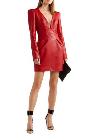 Alexandre Vauthier Dresses ALEXANDRE VAUTHIER WOMAN LEATHER MINI DRESS RED