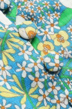 PERSEVERANCE Floral-print linen peplum top