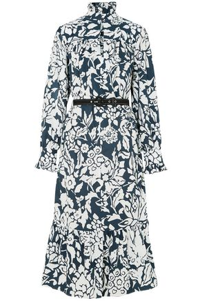 ALEXACHUNG Ruffle-trimmed printed cotton-poplin midi dress