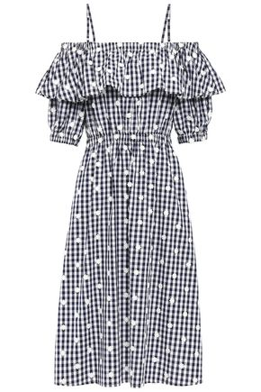 PERSEVERANCE Cold-shoulder floral-appliquéd gingham cotton-poplin midi dress