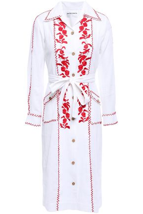 ANTIK BATIK Karamba tie-front embroidered cotton-gauze shirt dress