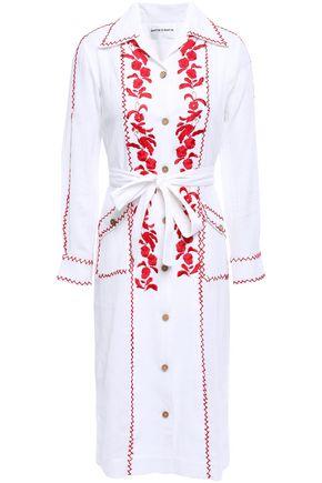 ANTIK BATIK Karamba tie-front embroidered cotton-gauze shirt dress