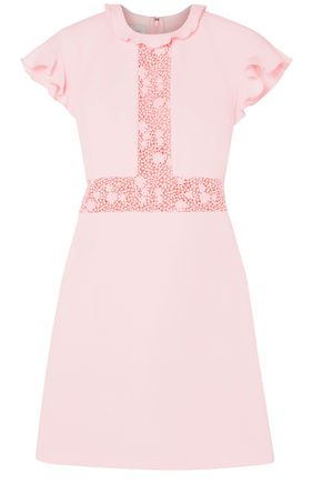 GIAMBATTISTA VALLI Ruffled lace-paneled crepe mini dress