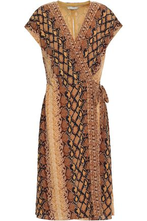 JOIE Bethwyn C snake-print crepe de chine wrap dress