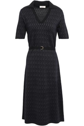 TORY BURCH Belted jacquard-knit midi dress