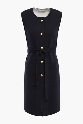 TORY BURCH Belted merino wool-blend dress
