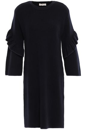 TORY BURCH Ruffled wool-blend dress