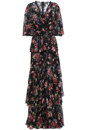 DOLCE & GABBANA Lace-trimmed tiered floral-print silk maxi dress