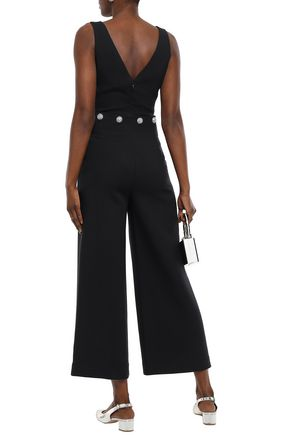 TORY BURCH Crystal-embellished twill jumpsuit