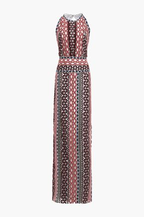 TORY BURCH Open-back metallic-trimmed guipure lace maxi dress