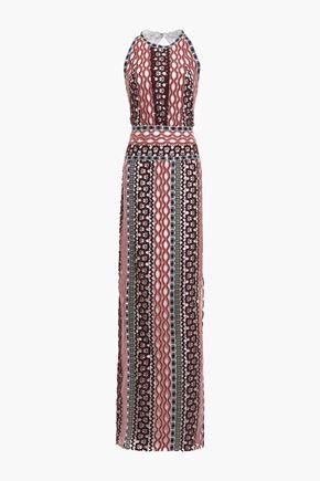 TORY BURCH Open-back metallic-trimmed guipure lace maxi dress