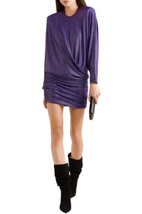 Alexandre Vauthier Dresses ALEXANDRE VAUTHIER WOMAN DRAPED CRYSTAL-EMBELLISHED STRETCH-GEORGETTE MINI DRESS PURPLE