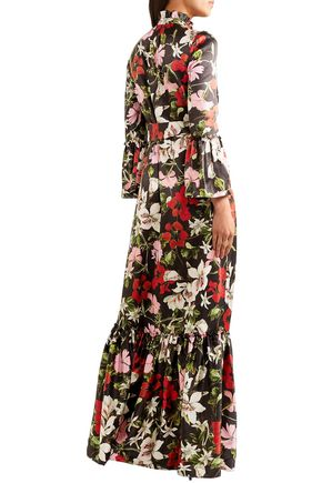 ERDEM Stephanie fluted floral-print silk-satin gown