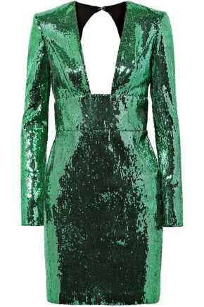 DUNDAS Open-back sequined chiffon mini dress