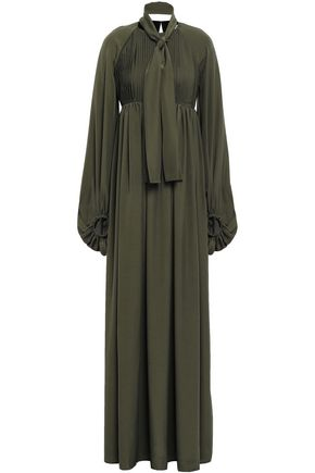 STELLA JEAN Tie-neck pleated crepe de chine maxi dress