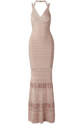 HERVÉ LÉGER فستان سهرة بتصميم ضيق مع تقليمات بشكل البوينتيل وأجزاء محاكة