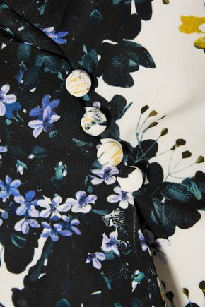 ERDEM Jio floral-print cotton-blend faille peplum top