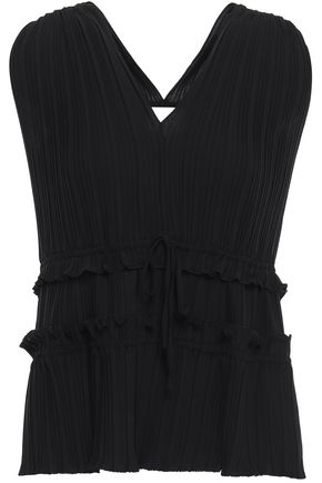 3.1 PHILLIP LIM Ruffle-trimmed pleated crepe de chine top