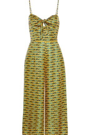 HANEY Bea cropped bow-detailed printed silk-twill jumpsuit