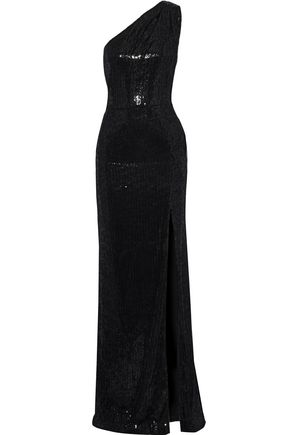 HANEY One-shoulder sequined velvet gown