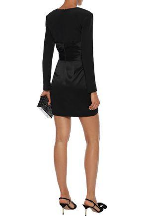 HANEY Crepe-paneled draped silk-satin mini dress
